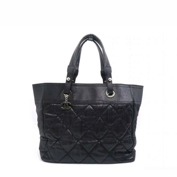 31c53a7118d6 CHANEL Handbags - Chanel Paris Biarritz Small Black Quilted Tote